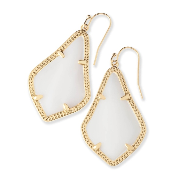 Kendra Scott Jewelry - Alex Gold Drop Earrings In White Mother-Of-Pearl